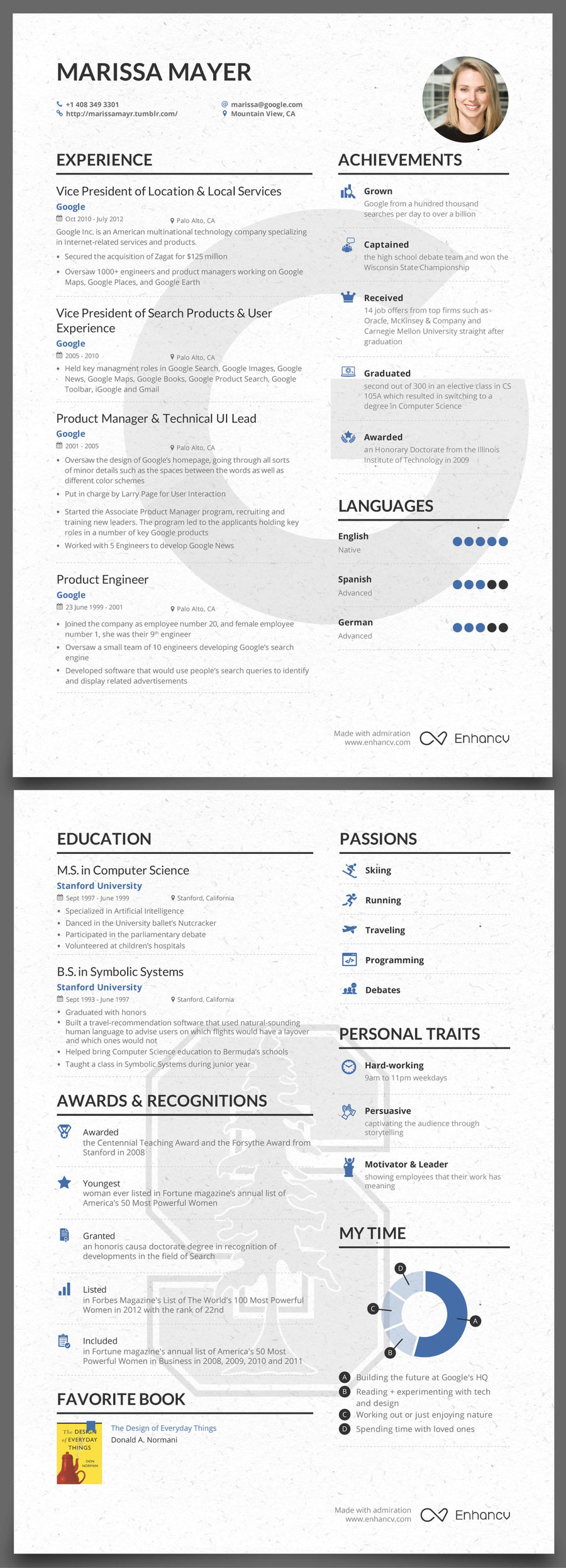 The Success Journey Marissa Mayers Pre Yahoo Resume