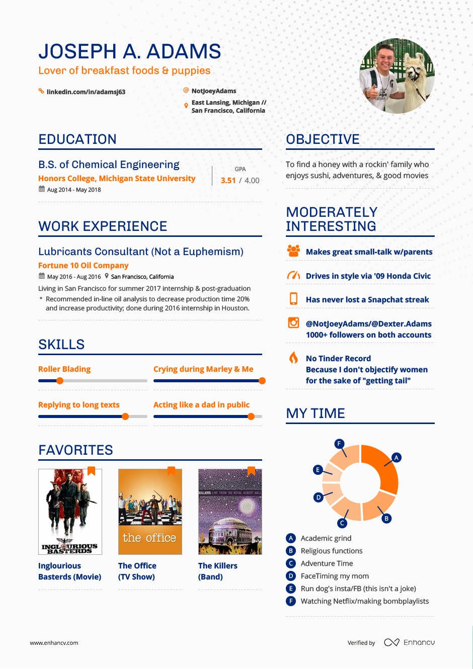 the dating resume a college student made with enhancv