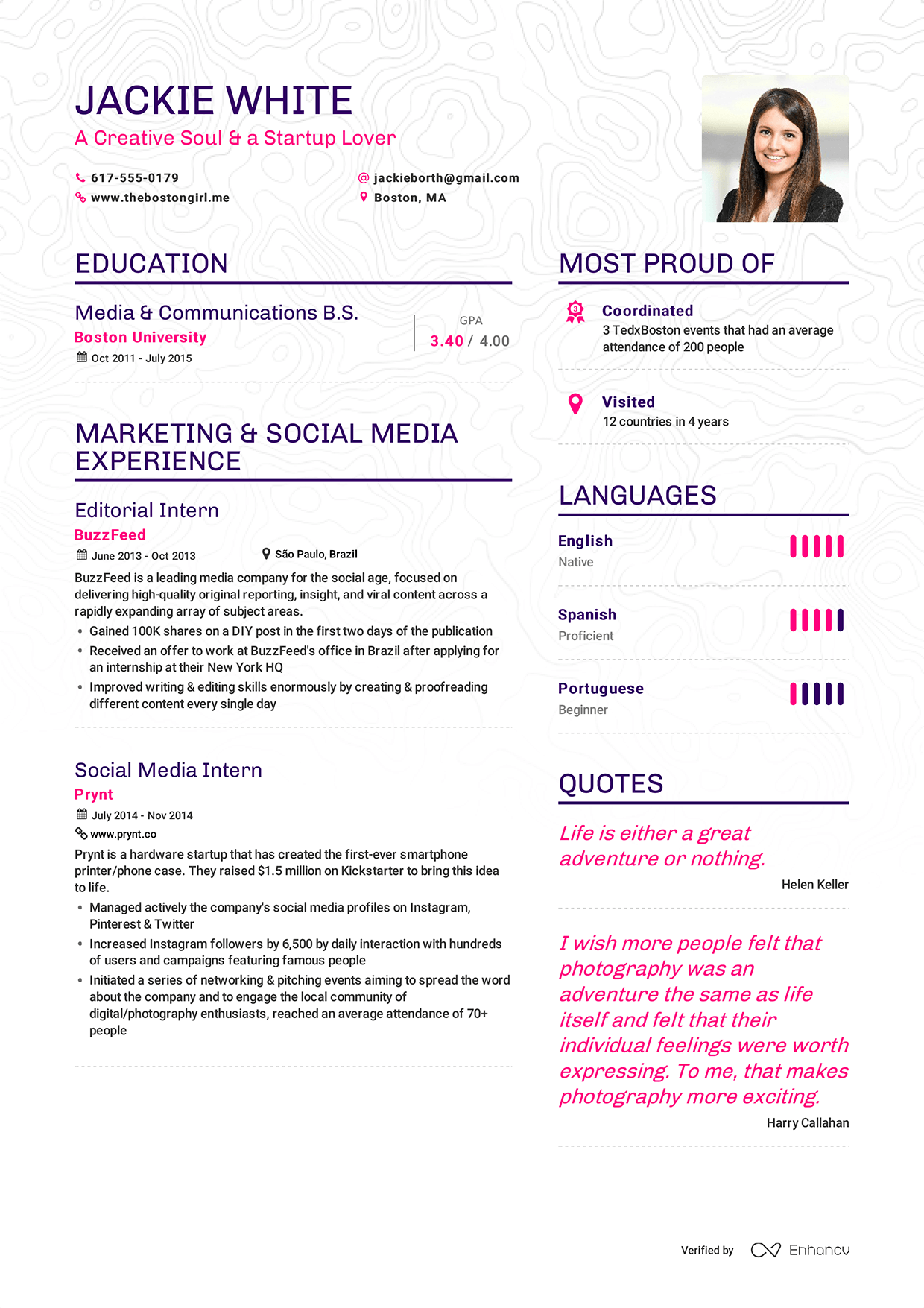 Resume Example Of Resume And Images examples of resumes by enhancv jackie white resume page 1