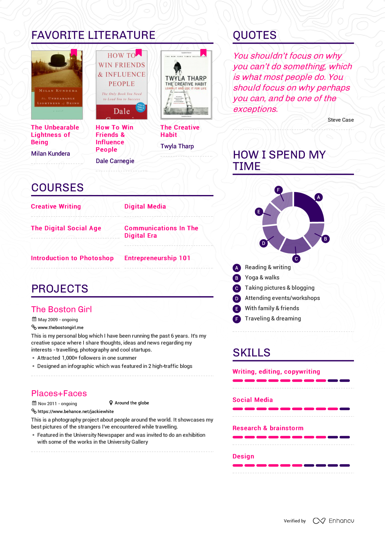 examples of resumes by enhancv jackie white resume page 1 jackie white resume page 2