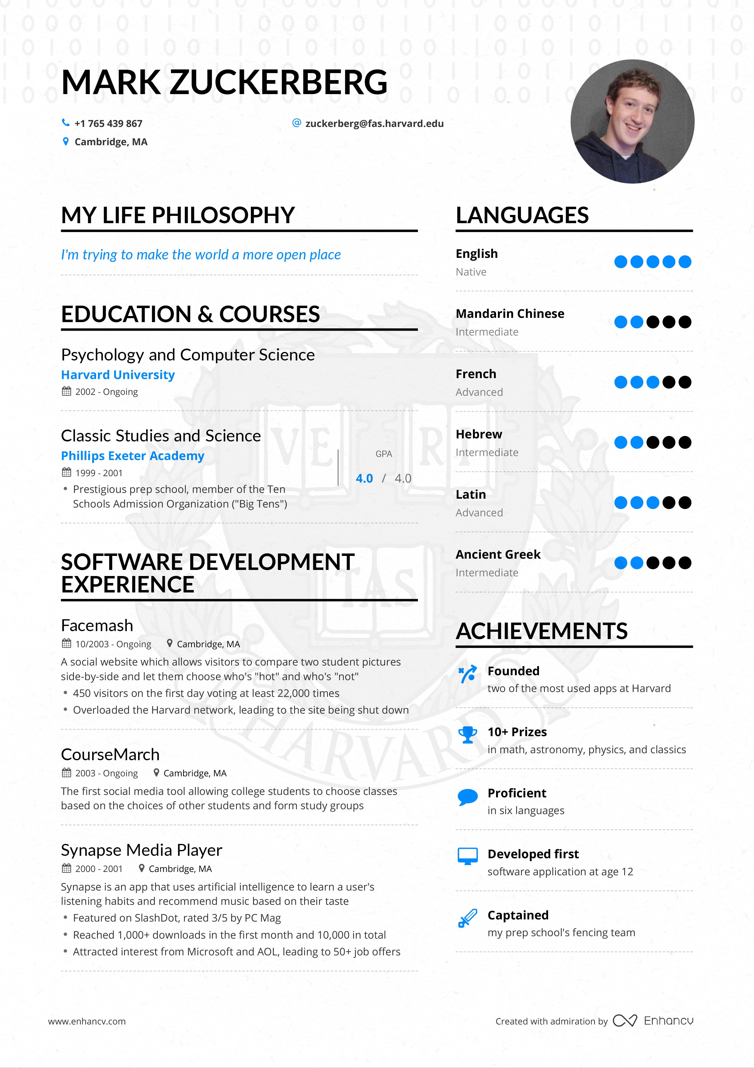 mark zuckerberg resume