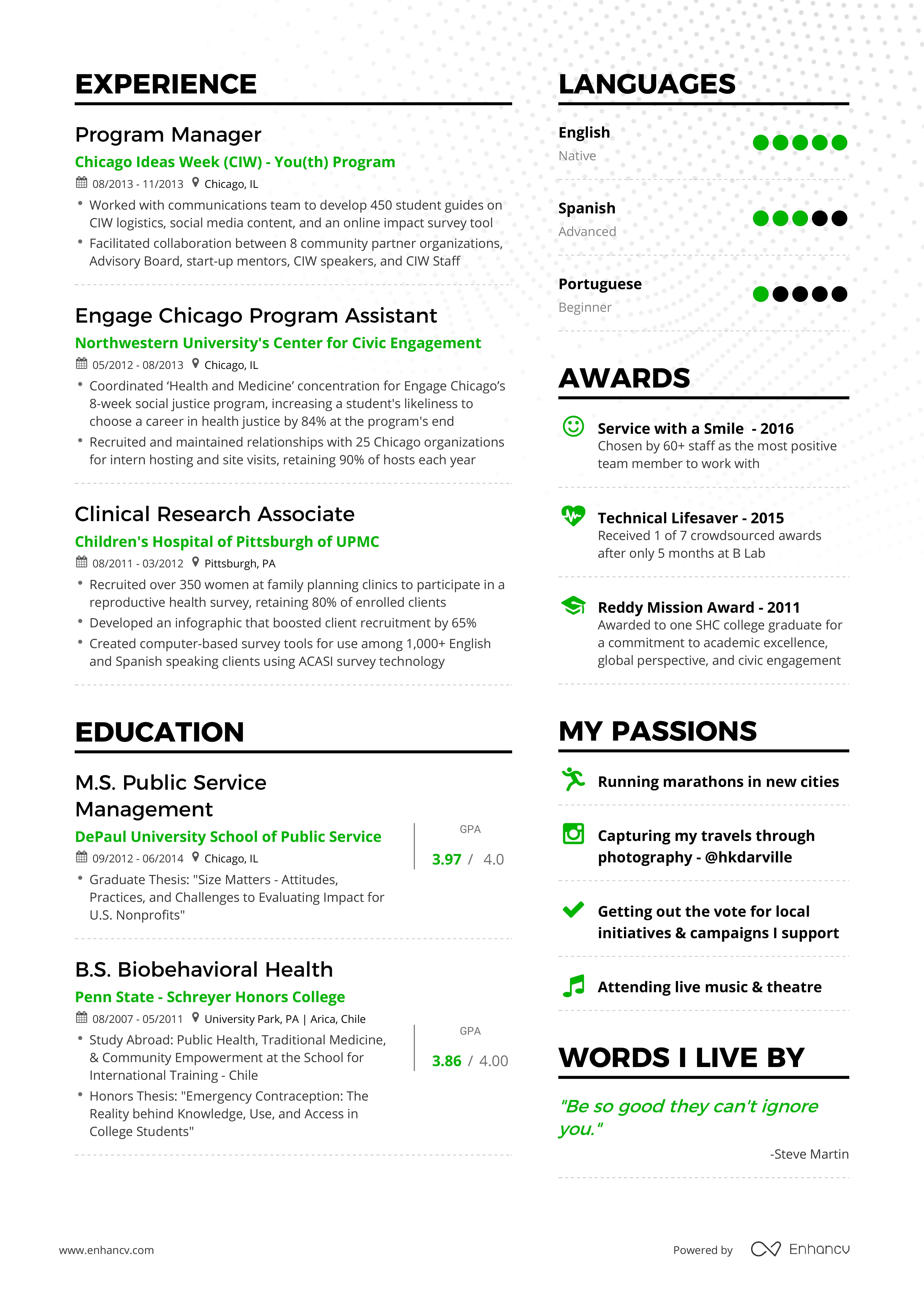 Example of successful product management resume