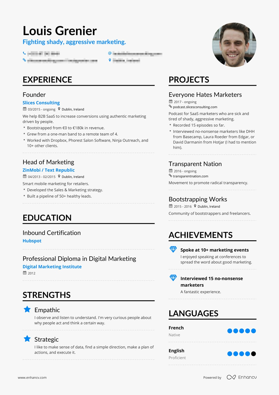 Example of successful marketing resume