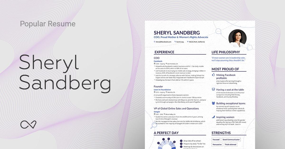 Sheryl Sandbergu0027s (Facebook COO) Online Resume | Enhancv Ideas Sheryl Sandberg Resume