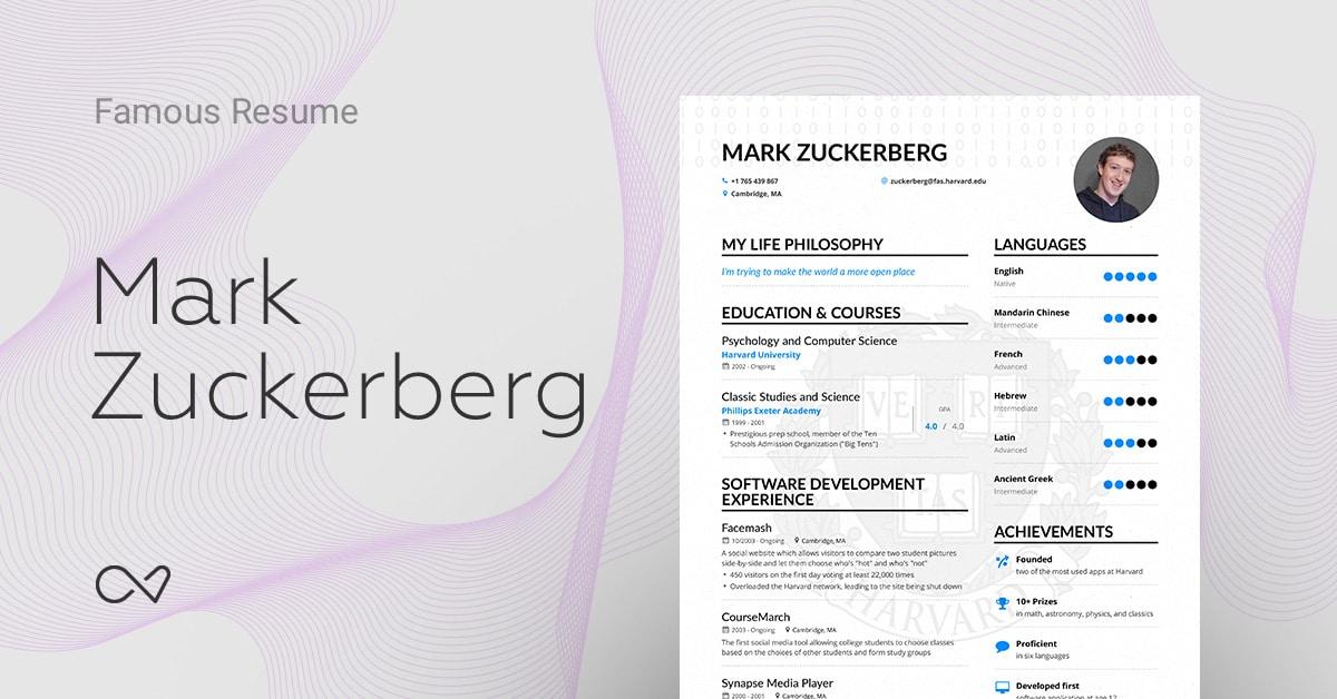 Mark Zuckerbergu0027s (Facebook CEO) Online Resume | Enhancv  Mark Zuckerberg Resume