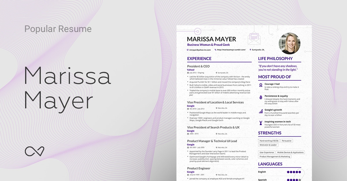 marissa mayers yahoo ceo online resume enhancv - Marissa Mayer Resume