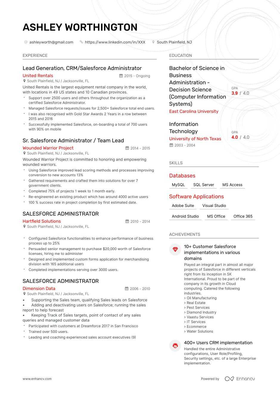 salesforce administrator resume example
