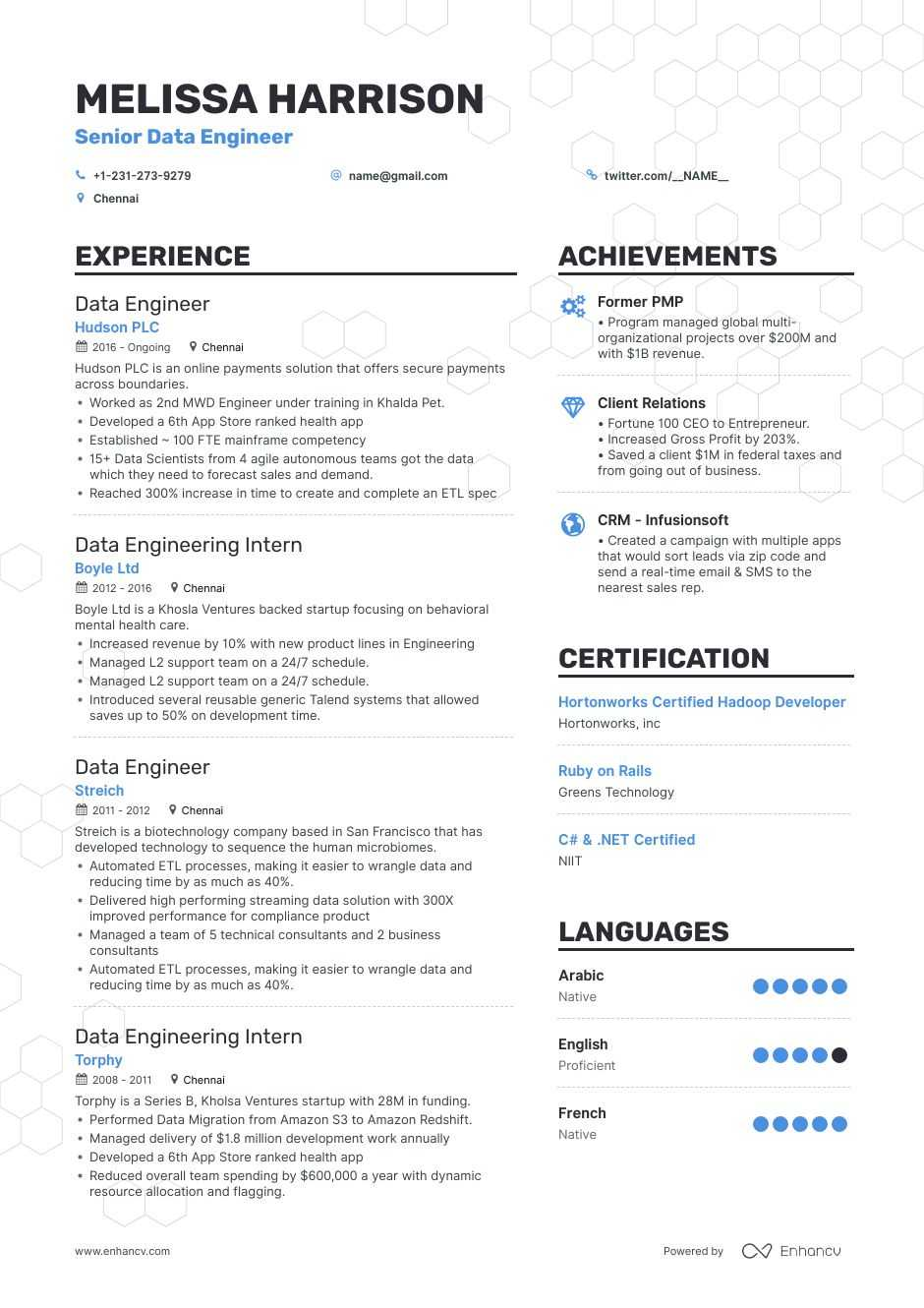 data engineer resume examples