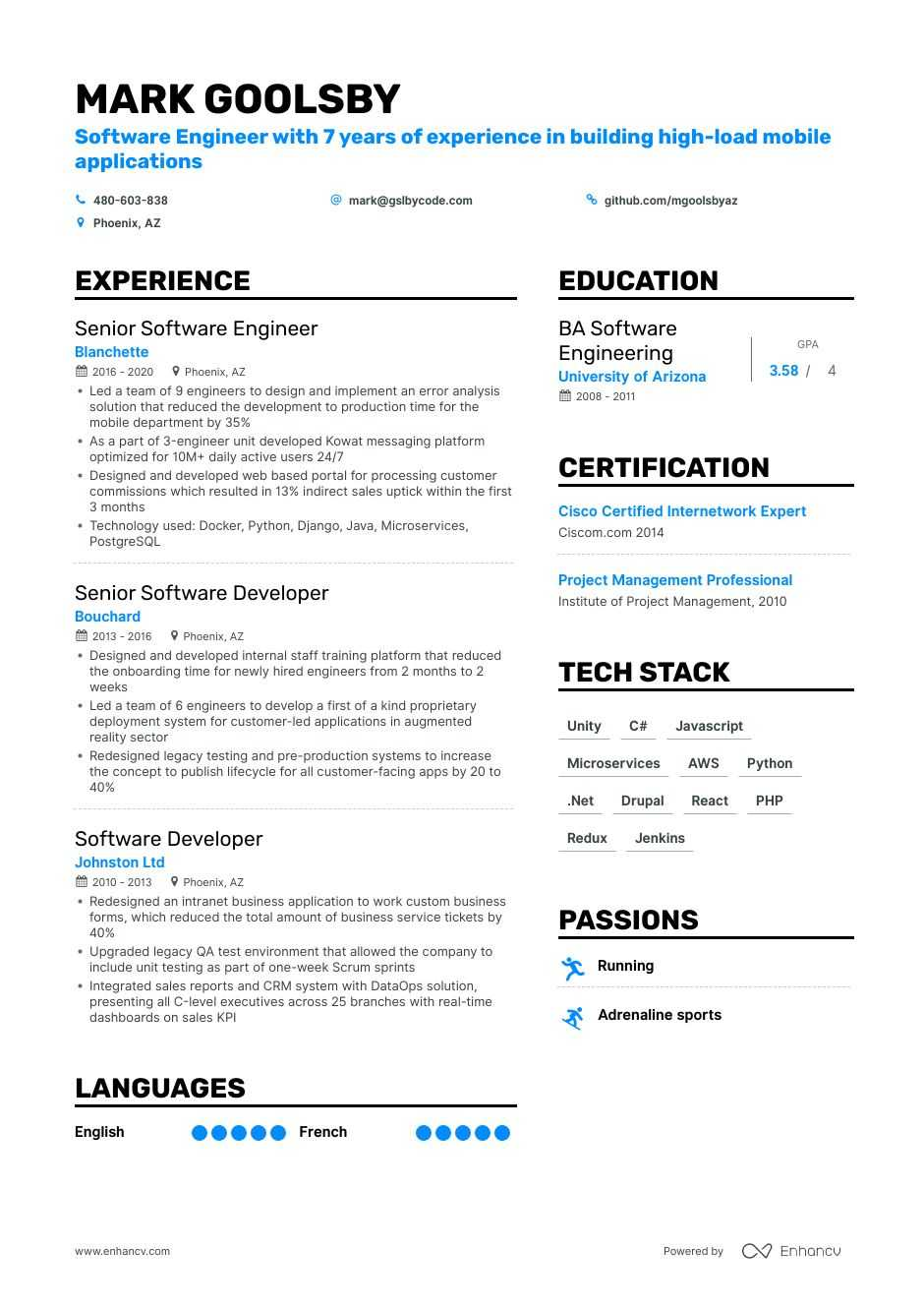 tech resume example