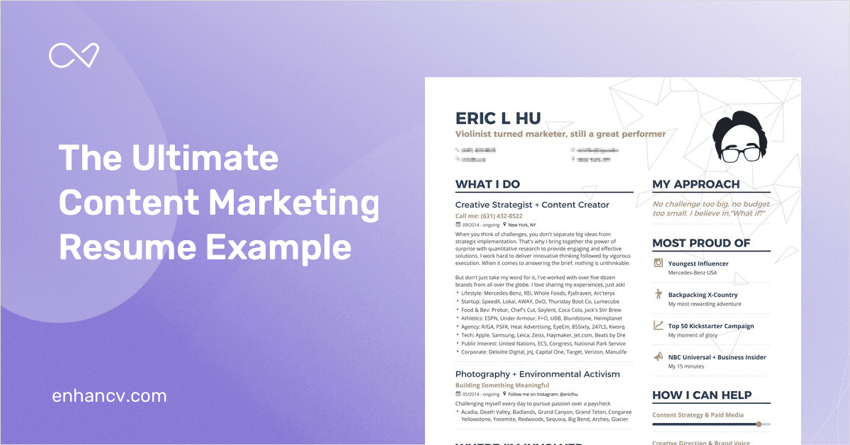 Content Marketing Resume Example And Guide For 2019