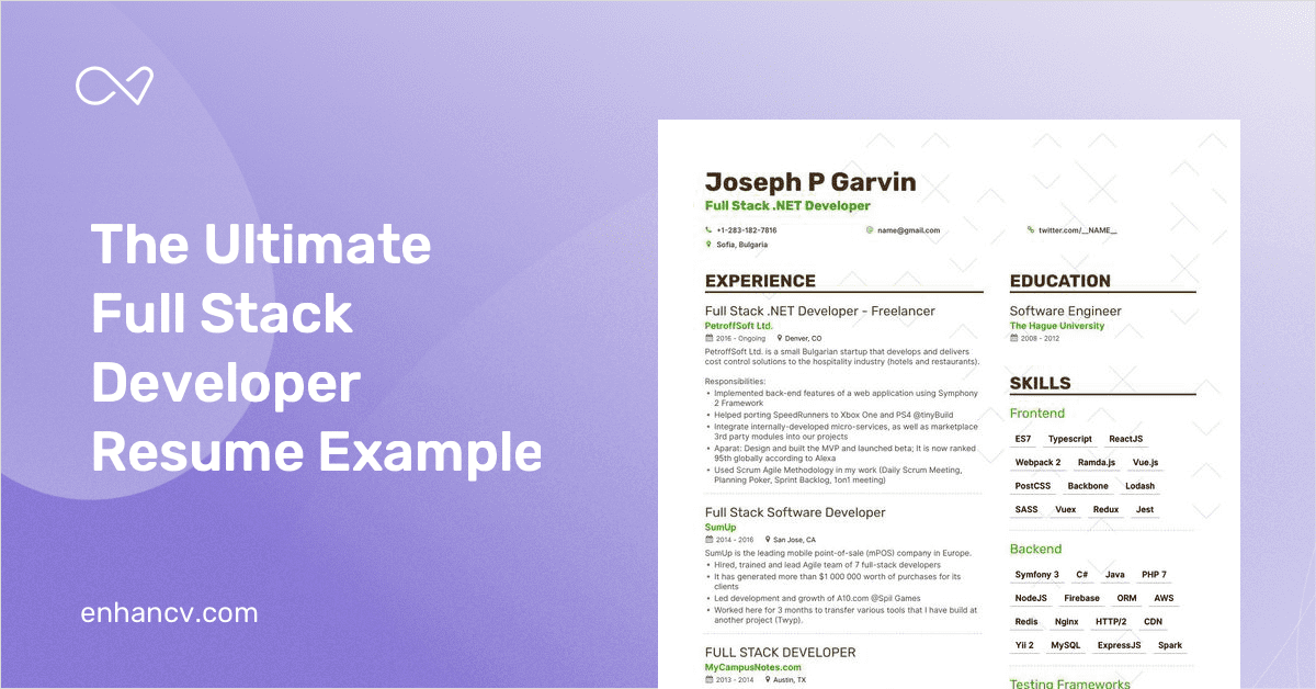 full stack developer resume example  u0026 expert tips