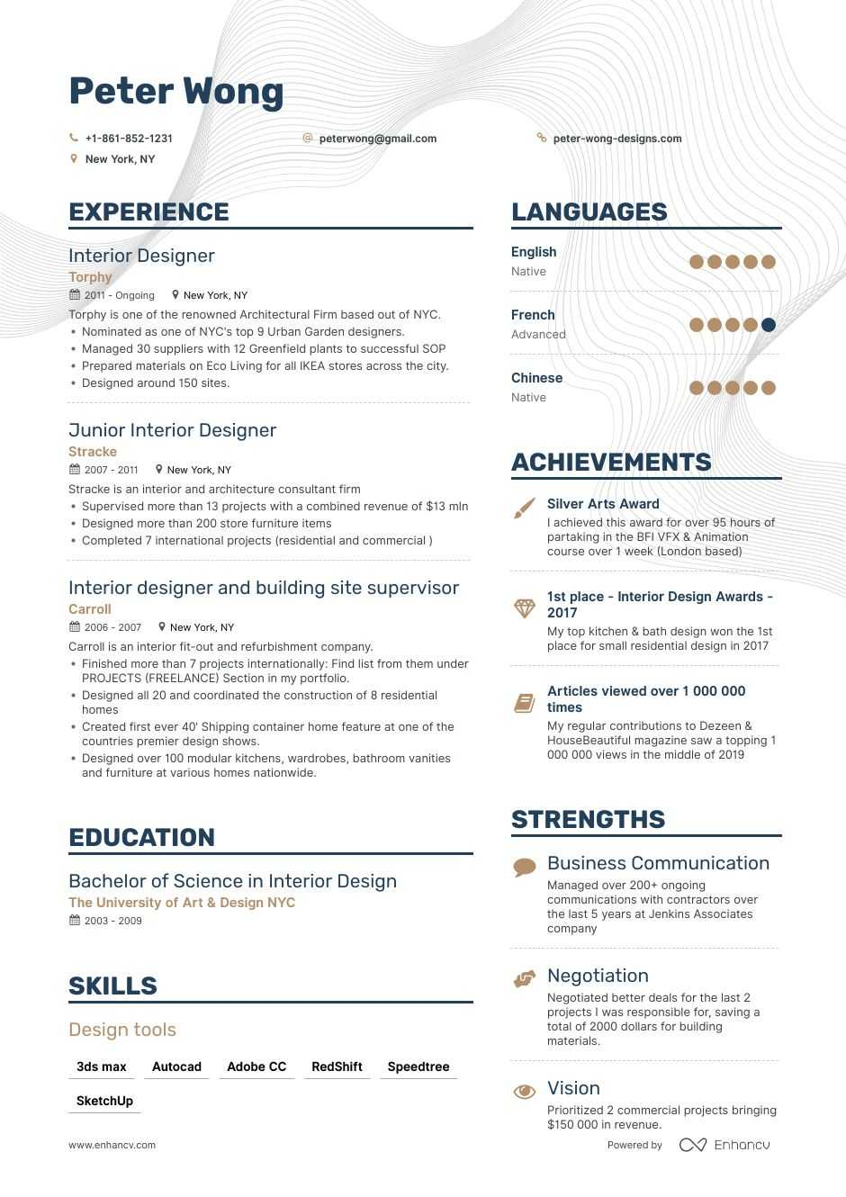Job Winning Interior Designer Resume Examples Samples Tips Enhancv