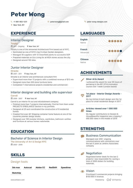 Job Winning Interior Designer Resume Examples Samples Tips Enhancv