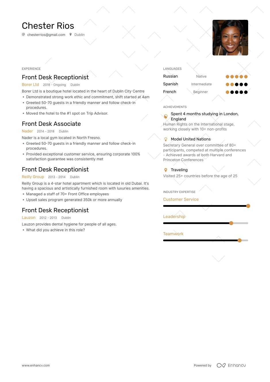 front desk resume example