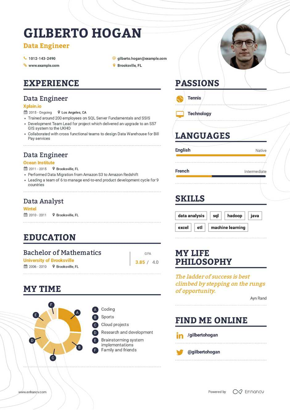 data engineer resume example