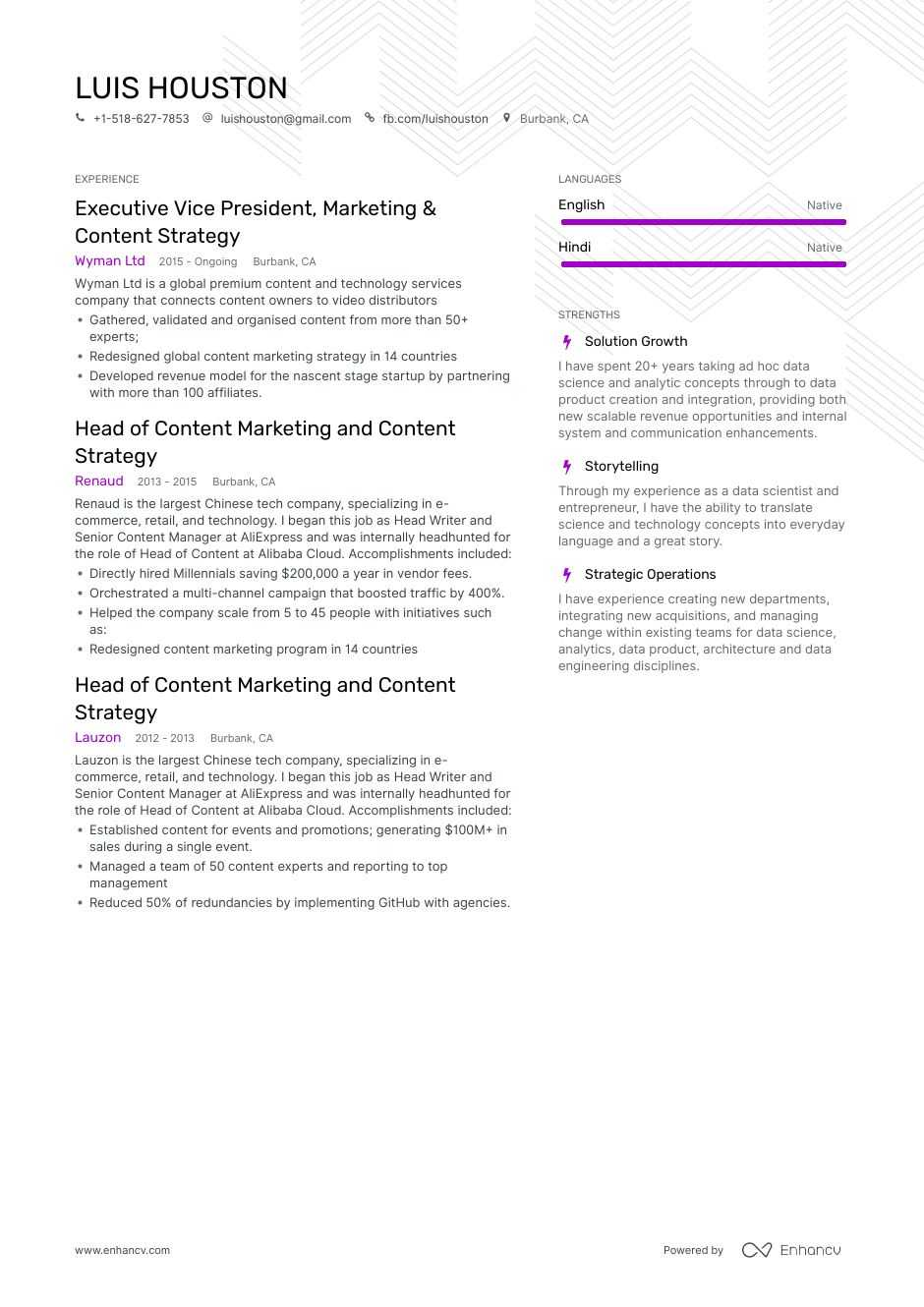 content strategy resume example