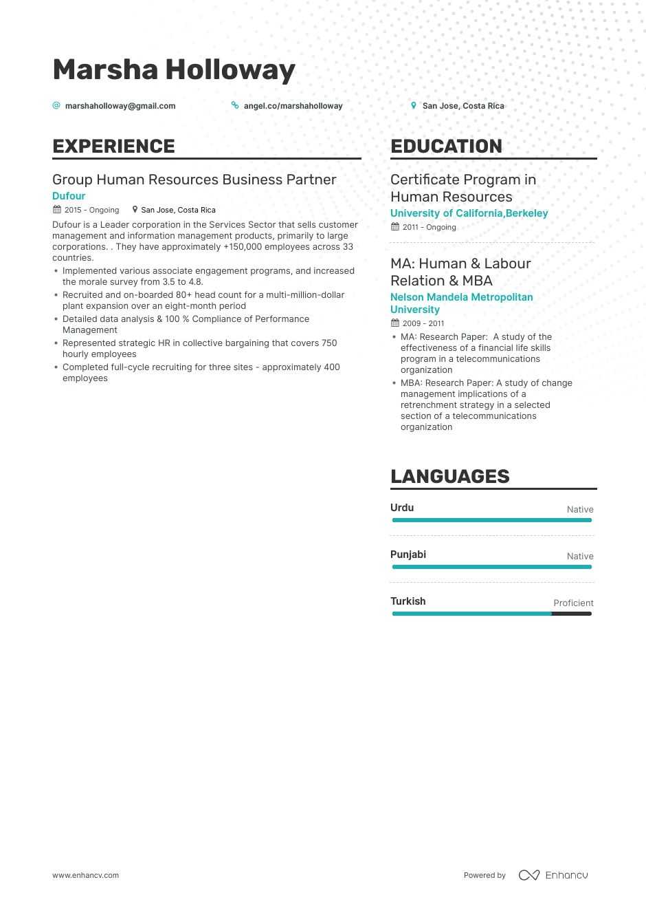 human resources business partner resume example