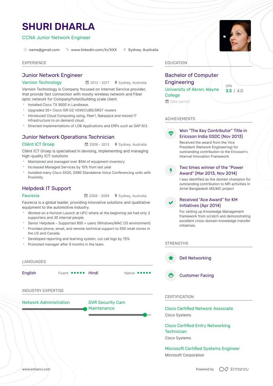 entry level network engineer resume example