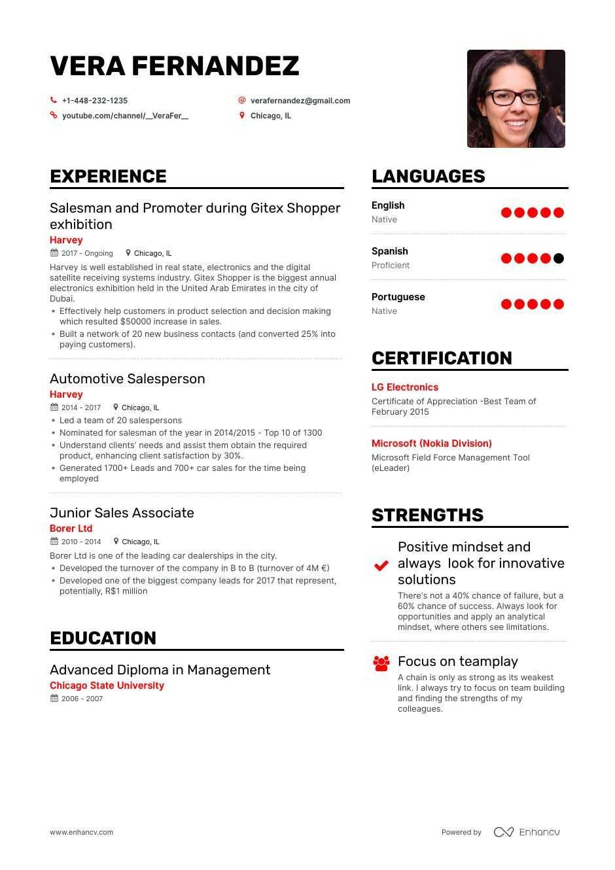 resume salesman examples sales salesperson skills hired automotive example samples summary