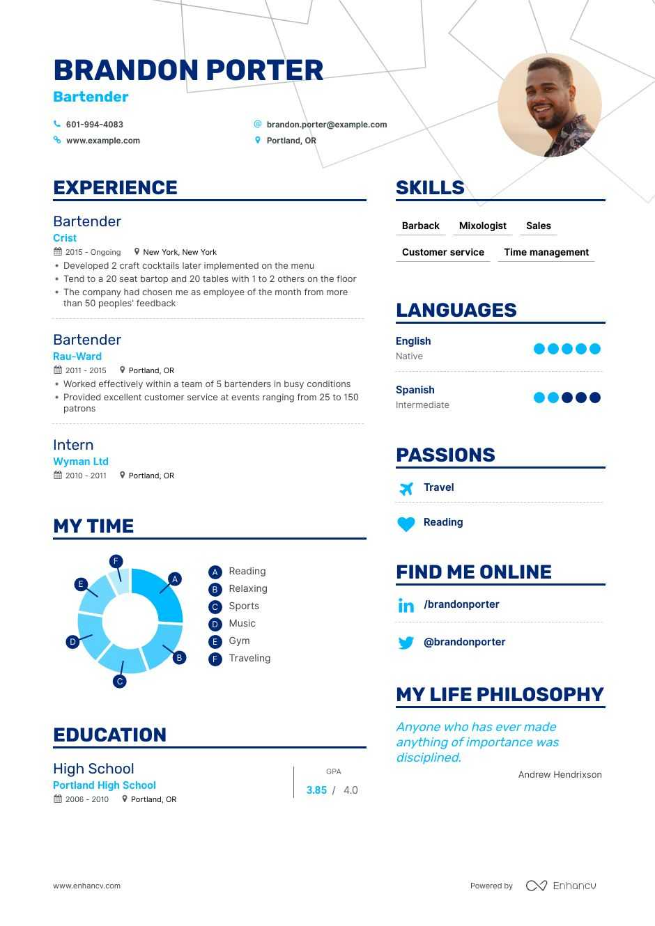 Bartender Resume Example and guide for 2020