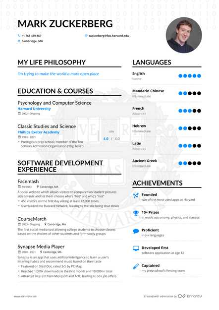 mark zuckerberg software developer resume example