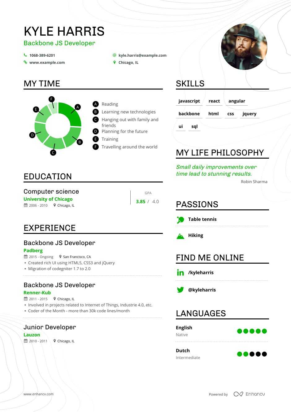 backbone js developer resume example