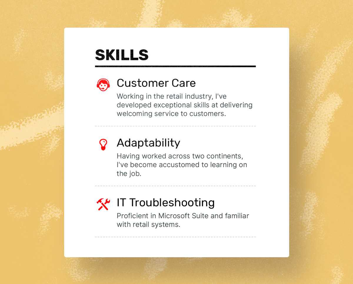 Server resume skills section