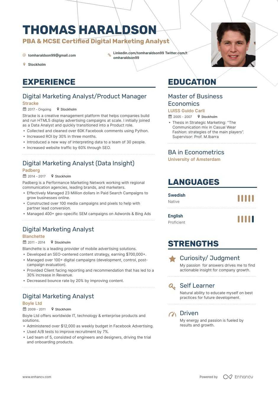 digital marketing analyst resume example