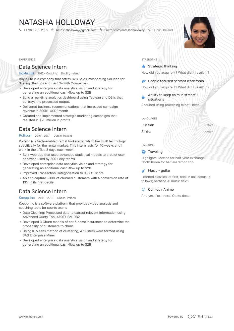 data science resume example
