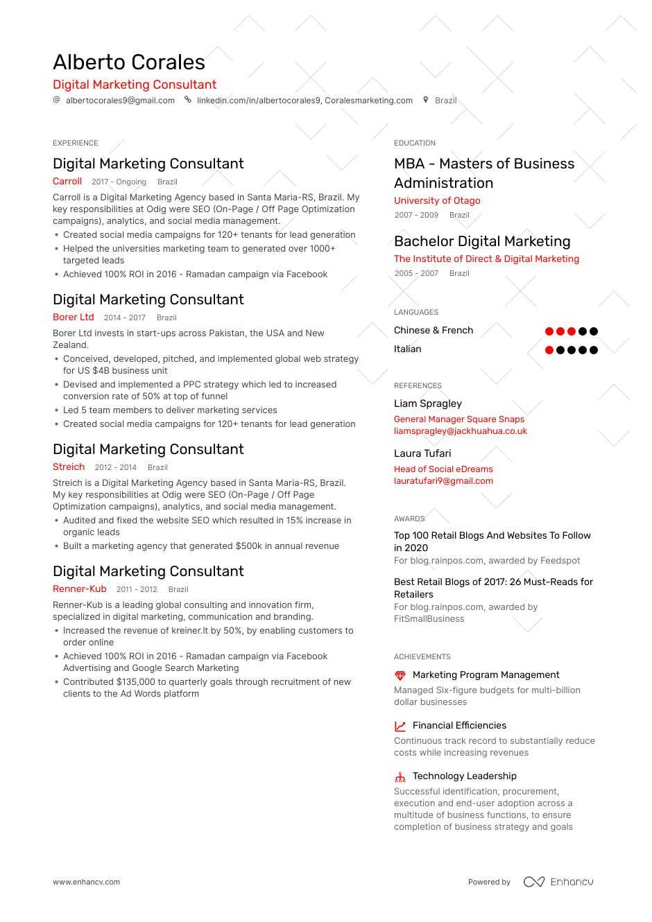 digital marketing consultant resume example