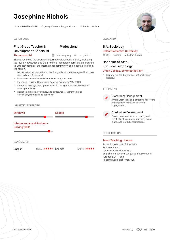 Download First Grade Teacher Resume Example For 2021 Enhancv Com
