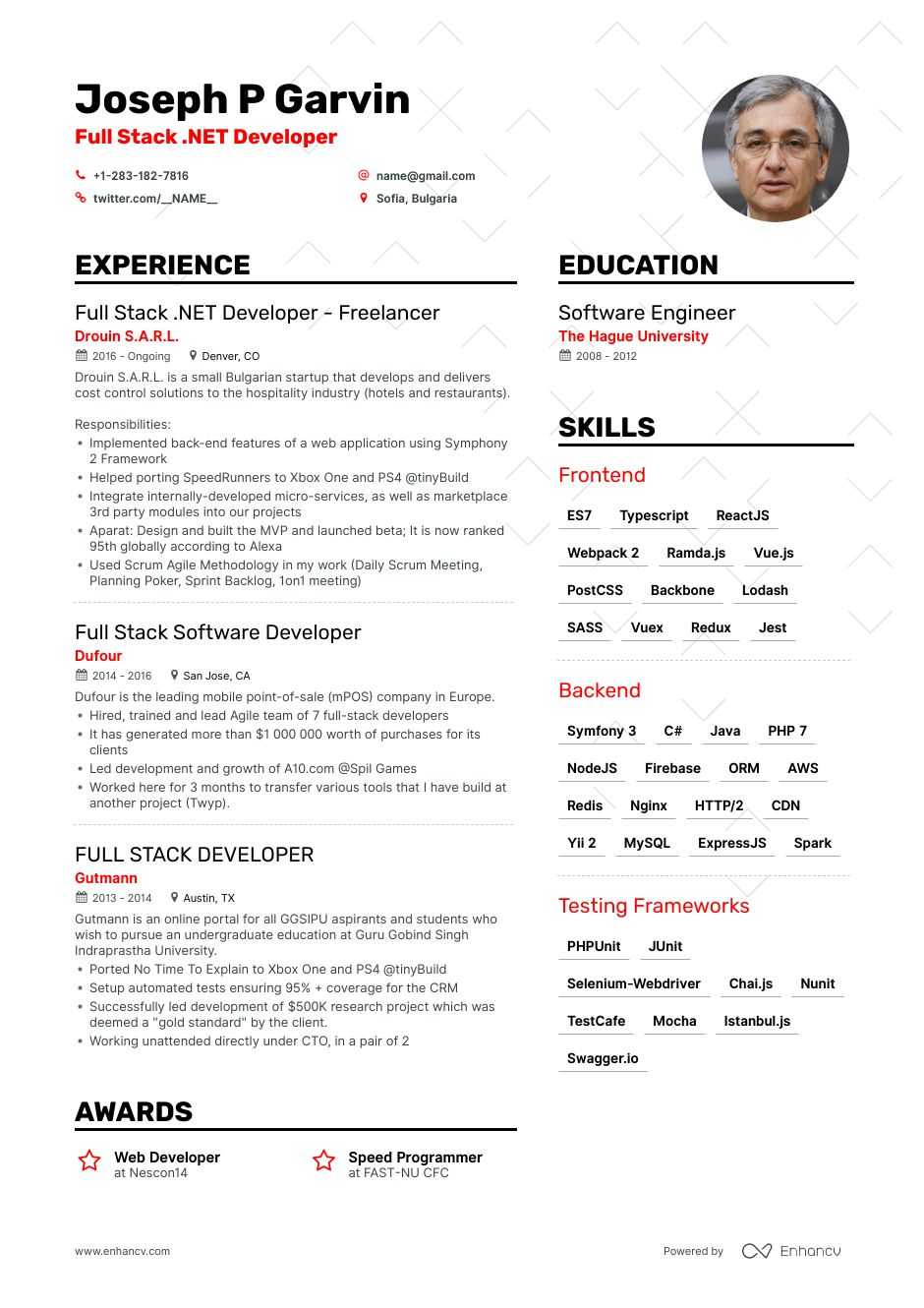 full stack developer resume example