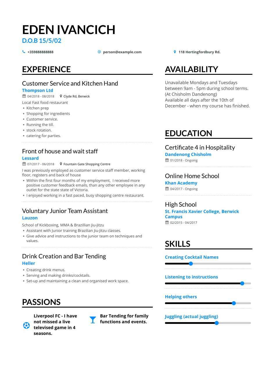 high school teen resume examples