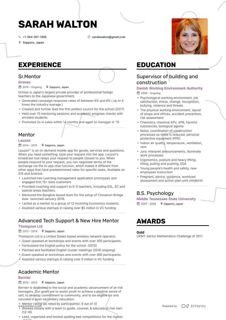mentor resume example