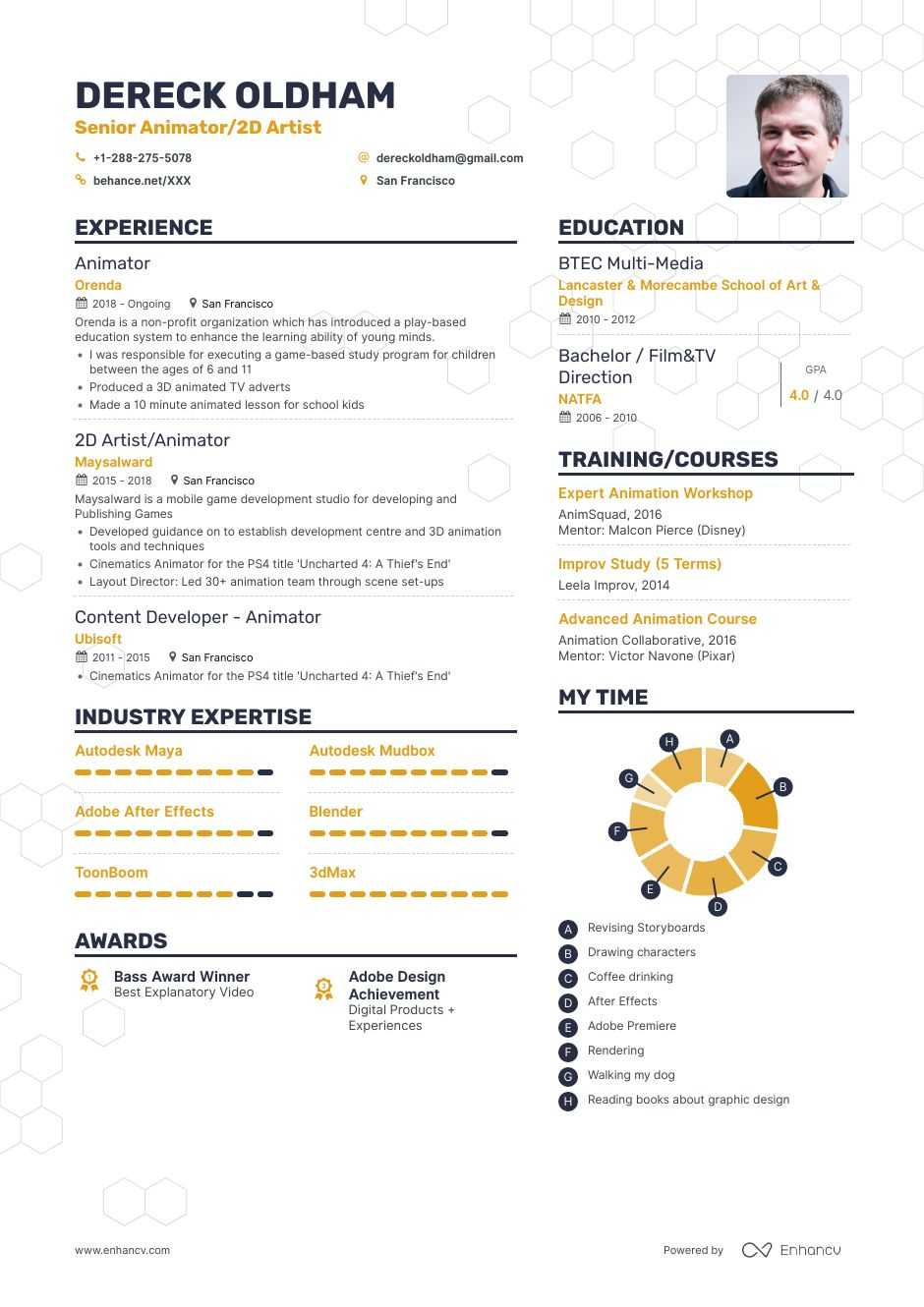animator resume example