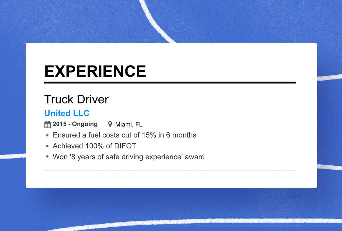 Truck Driver resume experience