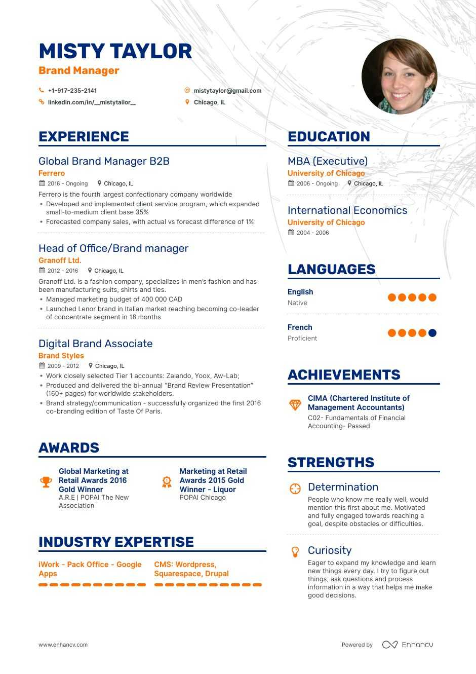 brand manager resume example