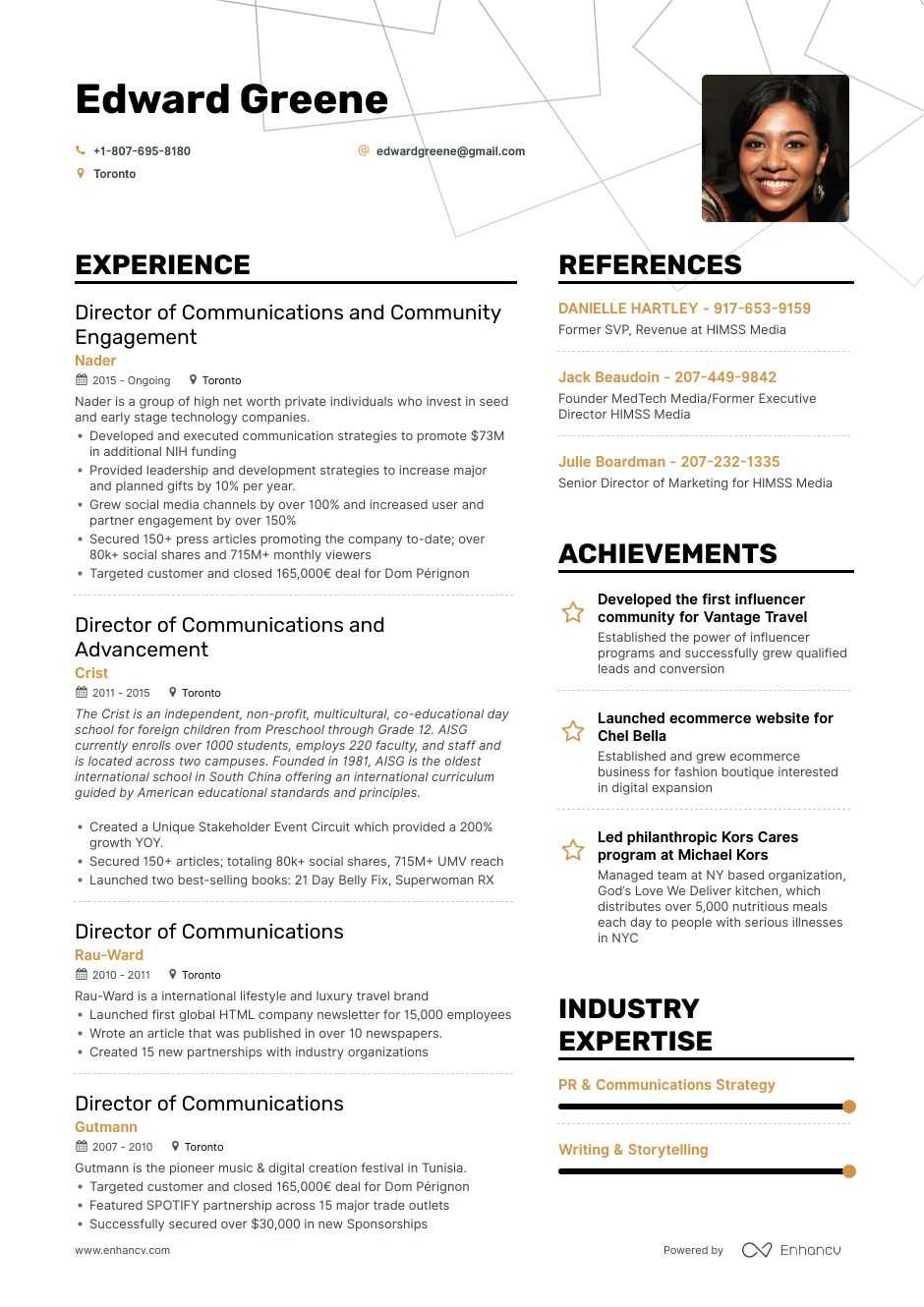 director of communications resume example
