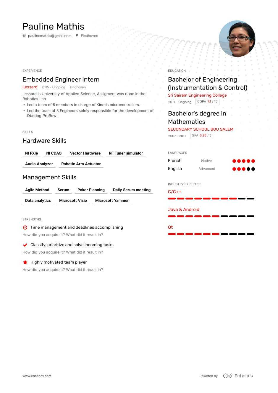 embedded engineer resume example