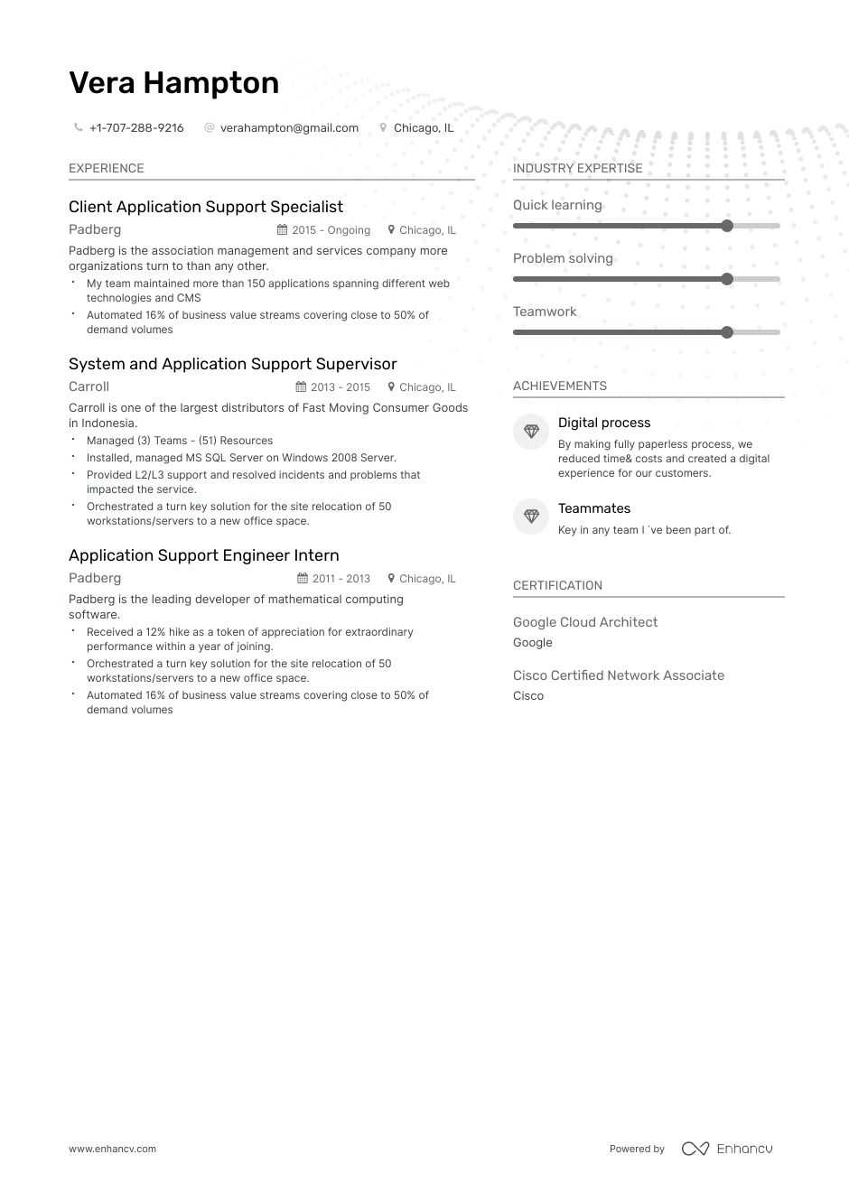 Download Application Support Resume Example For 2020 Enhancv Com