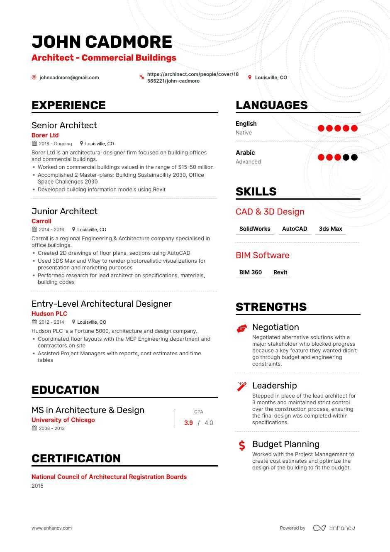 Top Architect Resume Examples Samples For 2020 Enhancv Com