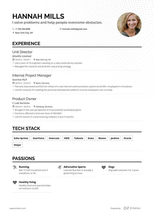 Free Resume Builder | Online Resume Builder | Enhancv com