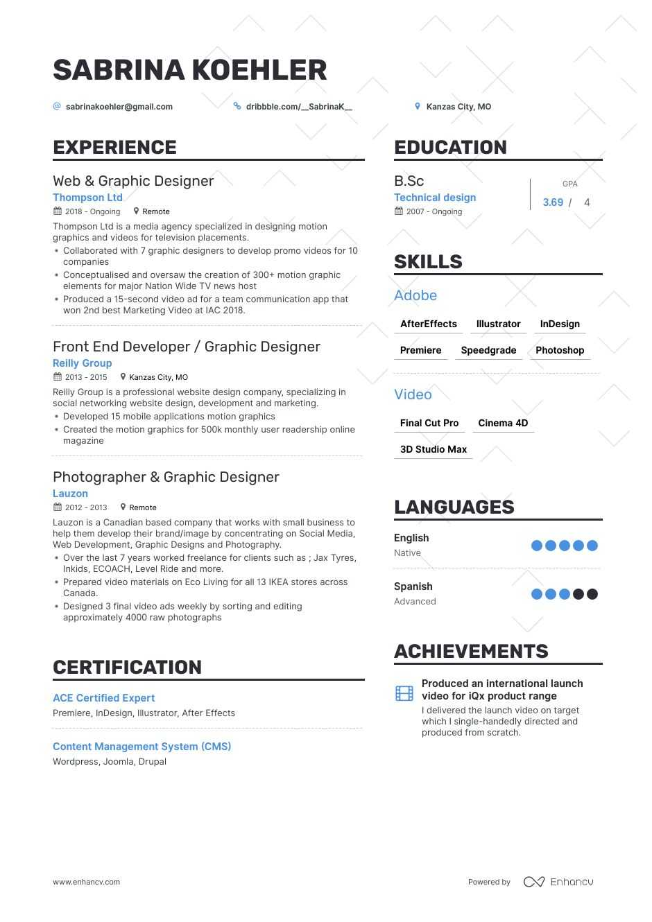 Motion Graphics Designer Resume Examples Guide Amp Pro Tips