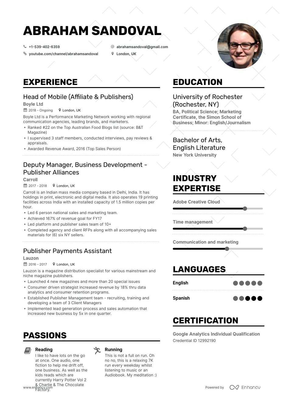 publisher resume example