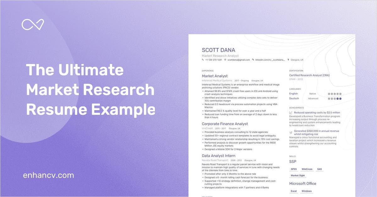 9+ Market Research Analyst Resume Examples | Enhancv Resume