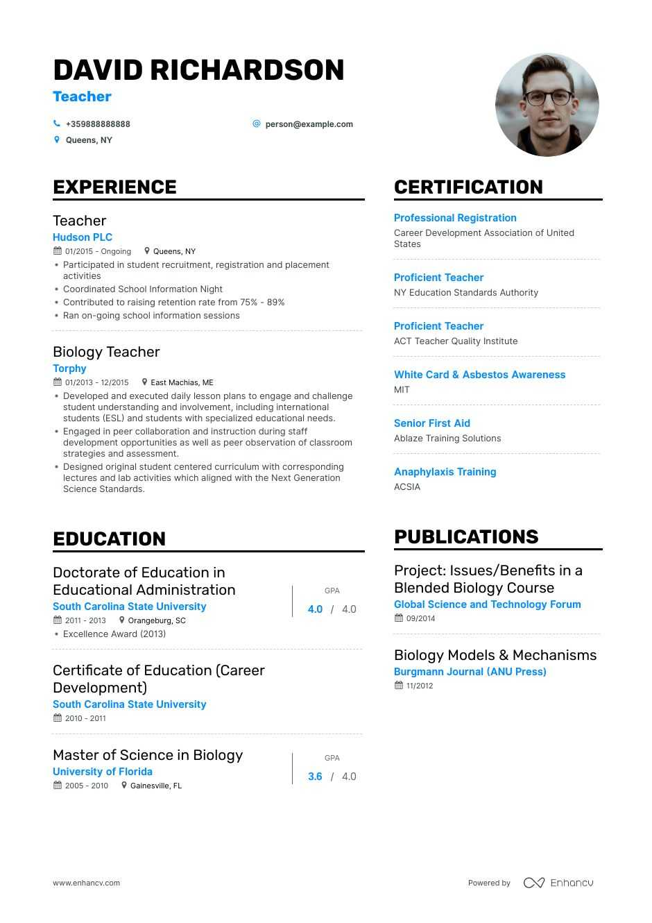 Job Winning Teacher Resume Examples Samples Tips Enhancv