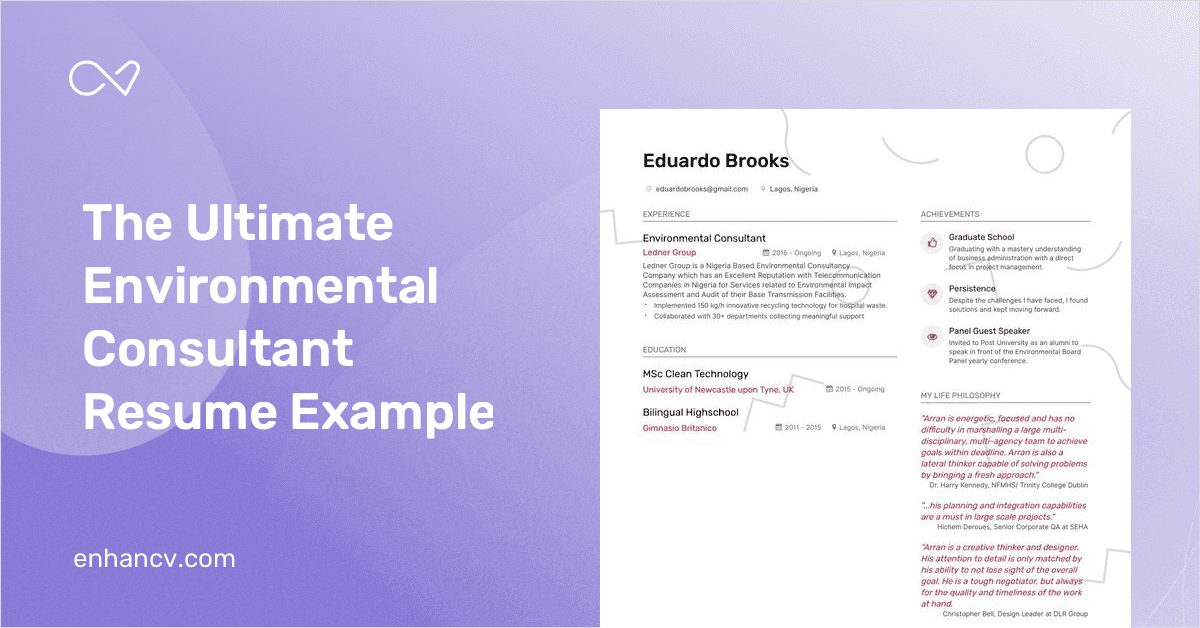 environmental consultant resume example and guide for 2019
