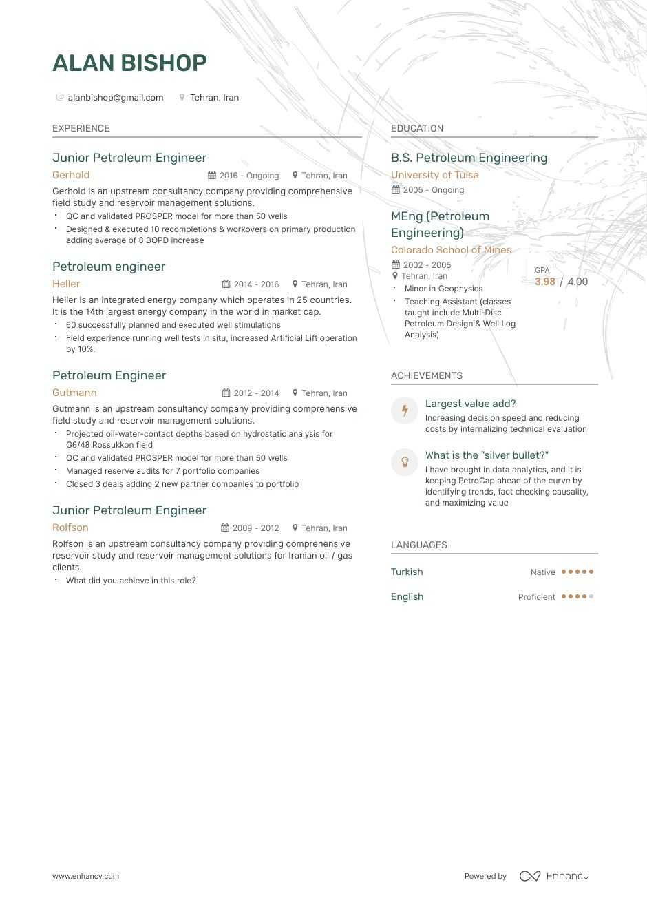 petroleum engineer resume example and guide for 2020