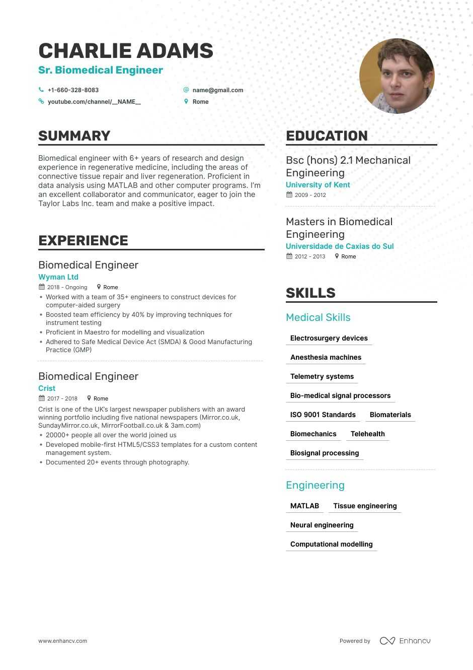 Biomedical Engineer Resume 8 Step Ultimate Guide For 2020 Enhancv