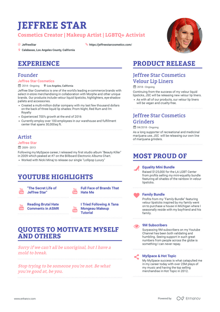 Jeffree Star's resume preview